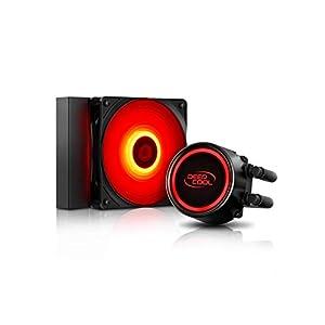 DEEP COOL GAMMAXX L120T Refrigeración Líquida para CPU, LED Rojo, 120mm PWM Ventilador, Equipada Sistema de Anti-Fugas, Compatible con AM4, Garantía de 3 Años
