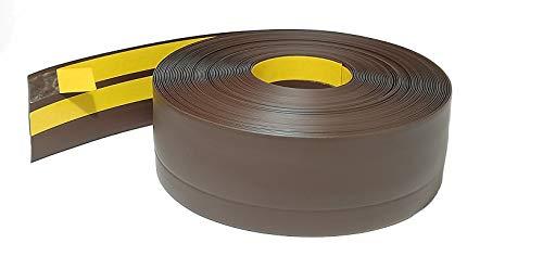 ProfiPVC Battiscopa PVC 50x20 mm - 1 metro, Adesivo, con Striscia Spezzata, Battiscopa Angolare Autoadesivo, flessibile e morbida, montaggio facile, 50x20 mm, Marrone scuro