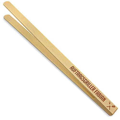 printplanet® - Holz Grillzange mit Auftragsgriller Fabian - graviert - Gravierte Holzgrillzange mit Namen - 40 cm Länge