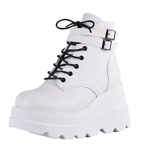 Women Platform Boots Lightweight Fashion Lace Up Boots Side Zipper Outdoor Round Toe Platform Waterproof Boots (White, 8.5, Numeric_8_Point_5)
