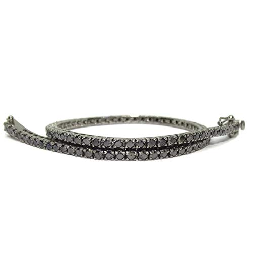Bracelet type Riviere en diamants et or 18 carats avec diamants champagne en or rose 18 carats ou avec diamants noirs en or blanc 18 carats. Pour homme ou femme. 19,50 cm de long. Diamants noirs
