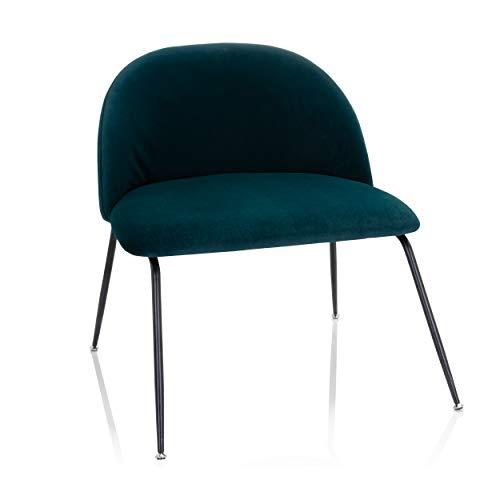 hjh OFFICE VELVO 645055 - Silla tapizada (terciopelo, patas de metal), color azul