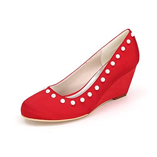 Zapatos De Boda Blancos Satinados Zapatos De Cuña Cómodos para Mujer Zapatos...