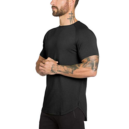Mens Gym Workout Slim Fit Short Sleeve T-Shirt Cotton Performance Athletic Shirts Running Fitness Tee(BK L) Black
