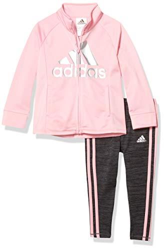 adidas Girls' Toddler Tricot Jacket & Leggings Clothing Set, Light Pink, 3T