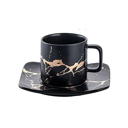 CHUKESM Taza de café de cerámica de café condensado taza de cerámica platillo traje tarde taza de té pequeña taza de café con plato cuchara conjunto