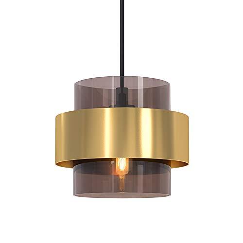 HJXDtech Moderne LED Pendelleuchte Messing Grau Glas Loft Deckenleuchte Nordic Einfache Hängelampe für Küche Schlafzimmer Wohnzimmer