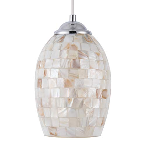 SYDTOP Coast Mini Pendant Light with Hand Crafted Mosaic Sea Shell Glass Modern Oval Pendant Lighting for Kitchen Island Sink Dining Room Bedroom Bar Cafe, Chrome Finish