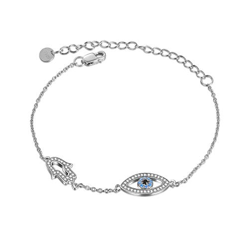 ONEFINITY Evil Eye Bracelet Sterling Sliver with Blue Cubic Zirconia Evil Eye Hasma Hand Fatima Jewelry Gifts for Women Her
