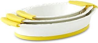Opalina Ceramic Dual Toned Oval Tray Set - 3 Pieces - Multi Color