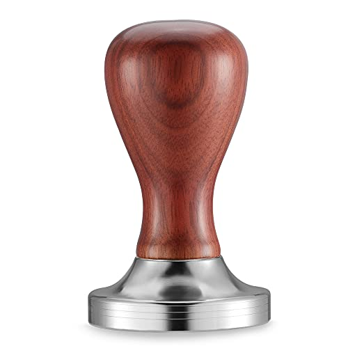 Hans-man CFC-51H 51mm Espresso Coffee Tamper Stainless Steel Flat Base Coffee Powder Bean Press Hammer with Wooden Handle for Barista (CFC-51H 51mm)