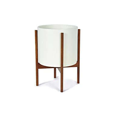 Case Study Ceramic Planter with Wood Stand - Large - White