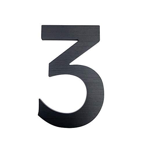 Hausnummern-Aufkleber aus Edelstahl, selbstklebend, 15,2 cm, Schwarz