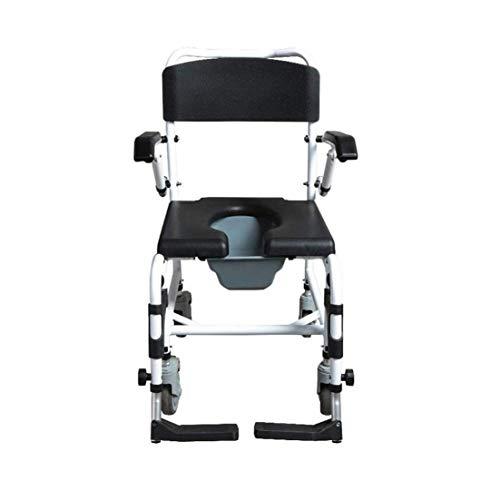 Sunmong Silla de Ducha Silla con Inodoro multifunción con Ruedas - Silla con Inodoro Junto a la Cama para Pacientes discapacitados 4 Posiciones de Altura Ajustable