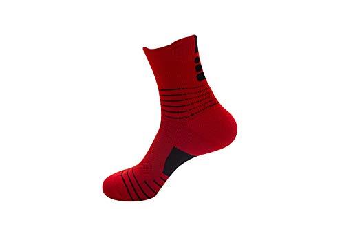 Sports socks, basketball socks, elite socks, leisure running socks, breathable ankle protection towel bottom men's socks (Black white gray red color blue)