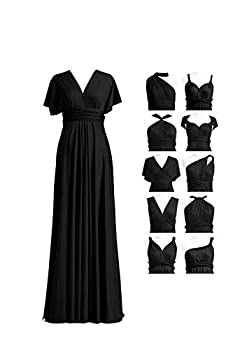Women s Elegant Formal Bridesmaid Evening Gown Sleeveless Ruched Party Cocktail Maxi Long Infinity Dress with Bandeau Black