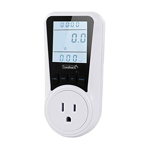 Electricity Usage Monitor, Watt Meter, Towallmark Power Consumption Monitor, Power Meter Plug, Kilowatt Wattage Voltage AMP Tester, Intelligent Billing Socket with Big LCD Display + Backlight