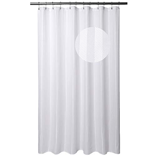 Barossa Design Extra Long Shower Curtain Fabric with 84 Inch Height, Hotel Grade, Machine Washable, Water Repellent, 160 GSM Heavyweight, White Stripe Damask, 71x84 Inches
