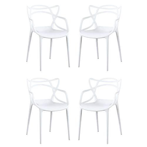 Milani Home s.r.l.s. Set di 4 Sedia in Polipropilene Plastica Bianca di Alta qualità di Design per Interno E Giardino Stile Moderno per Sala da Pranzo, Cucina