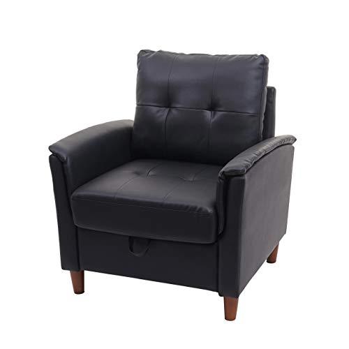 Mendler Sessel HWC-H23, Loungesessel Cocktailsessel Relaxsessel Fernsehsessel, Stecksystem Staufach ~ Kunstleder, schwarz