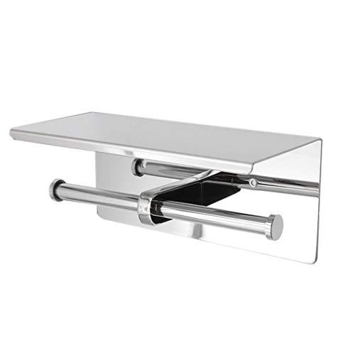 Tenedor de papel higiénico de acero inoxidable Montaje de pared de alta calidad Teléfono de doble rollo Titular de tejido Accesorios de baño (Color : Silver)