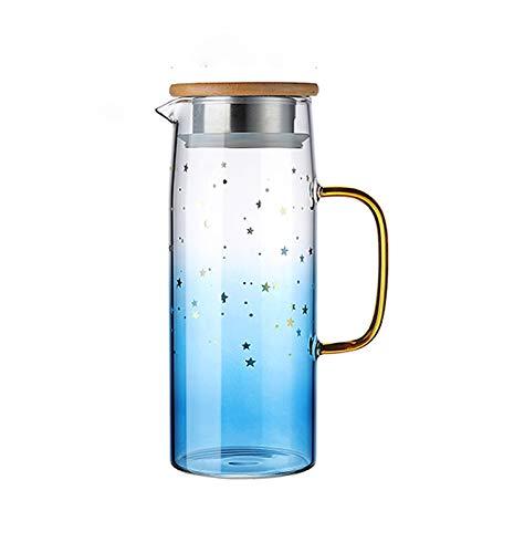 WXXT Tetera de Vidrio para hervidor de Agua para Preparar té Suelto,infusiones,Bebidas frías,Tapa de bambú con Fondo de Acero Inoxidable y Bobina de Filtro(1000ml) Azul,Rosado