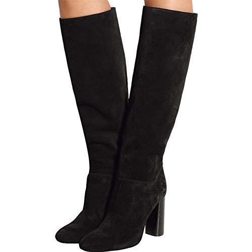 YMN vrouwen hoge hak knie laarzen, Suede ronde hoofd met dikke laarzen comfortabele dames 13cm hak, geschenken voor vriendinnen en moeder (zwart)