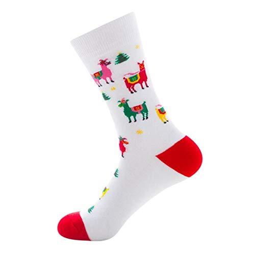 HAIBOMY Calcetines de Hombre 1 par de Navidad Año Nuevo Invierno Nuevo Hombres Calcetines de Hombre Santa Claus Elk Calcetines de Tubo para Hombres Terminados Calcetines De Algodón