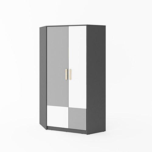 Furniture24 Eckkleiderschrank POK P01, Eckschrank, 2 TürigerDrehtürenschrank mit 2 Kleiderstangen und 8 Einlegeboden