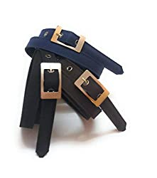 generic womens formal belts for jeans and trouser 3pcs black brown nevyblue