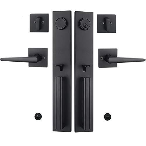 Iron Black Front Double Door Handleset(Keyed&Dummy Set, Matte Black)