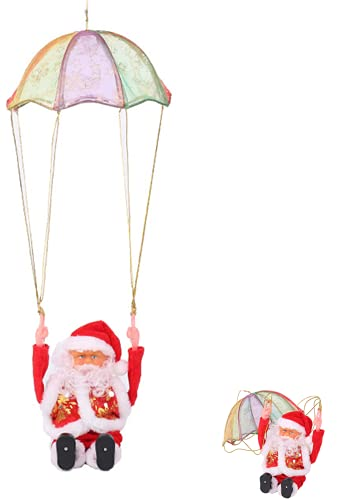Duyifan 2022 Christmas Decoration Santa Claus Parachute Somersault, Hanging Santa Claus Christmas Decorations New Year Gift, Electric Music Christmas Doll Children Toy