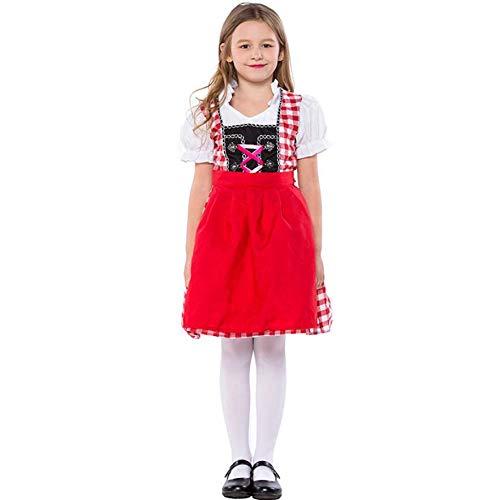 Sexy Schlafanzug Damen Kinder Oktoberfest Kostüme Uniform Deutsche Kinder Mädchen Biermädchen Heidi Kostüm Bayer Dirndl Kleid-Red_XL