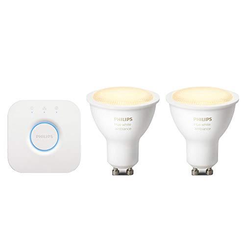 Philips Hue Kit de démarrage 2 ampoules White Ambiance GU10 + pont...