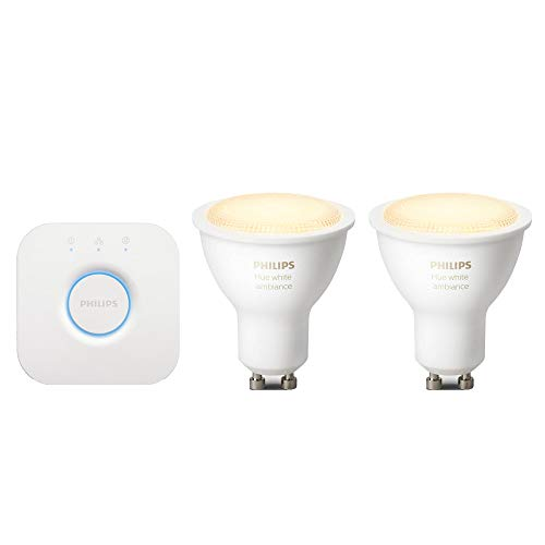 Philips Hue Bridge 2.0 Controllo del Sistema + Hue White Ambiance Set 2 Faretti Spot LED, Attacco GU10