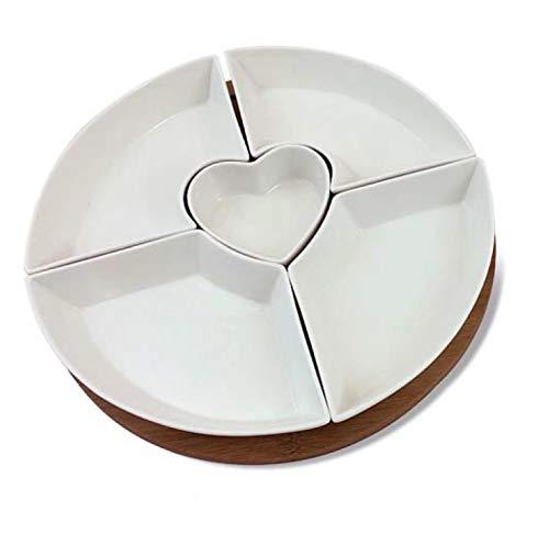 Mandorle by Paben Antipastiera Aperitivo 5 Ciotole Cuore, 27,7 cm,in Porcellana e bambù