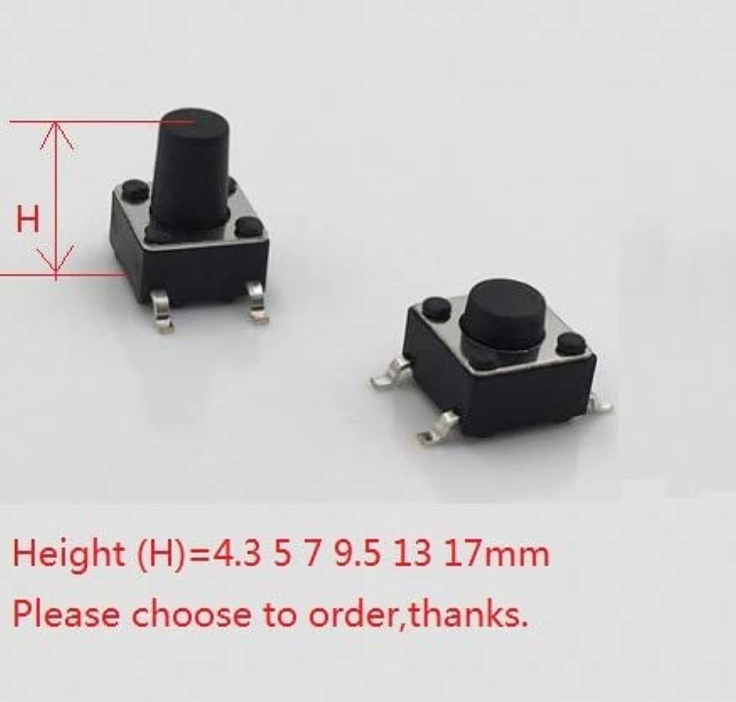 1000pcs 6x6 mm Tactile Switch SPSTNO Top Actuated Surface Mount 6.0mm x 6.0mm Height 4.3 5 7 9.5 13 17 mm 250gf Gull Wing SMT  (color  Height 5.0 mm)