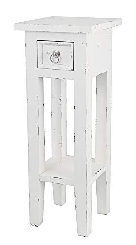 Dynamic24 Shabby Beistelltisch Mahagoni Holz massiv Telefontisch Konsole Tisch weiß