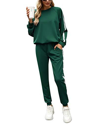 Irevial Jogginganzug Damen Set Freizeitanzug Sportanzug Trainingsanzug mit Streifen Taschen Fitnessanzug für...