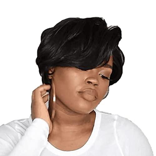 Zonster Rizado Pelucas De Pelo Rizado con Flequillo Ondulado para Mujeres Negras Sin Frente del Cordón Peluca Corta Humana Africana