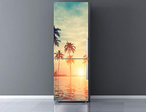 Oedim Vinilo para Frigorífico Paisaje Caribeño 185x70cm | Adhesivo Resistente y Económico | Pegatina Adhesiva Decorativa de Diseño Elegante