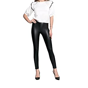 ROBERT MATTHEW Faux Leather Leggings Bodacious High Waisted Tummy Control Fashion Leggings for Women