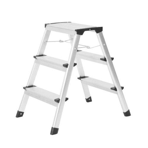 axentia Aluminium-Klapptritt in Silber, Klappleiter mit Spreizsicherung, Stufenleiter mit rutschfester Spezialriffelung und Kunststofffüßen, platzsparend zusammenklappbar