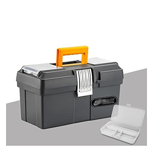 Caja de herramientas Caja de herramientas de plástico con bandeja portátil Organizador de almacenamiento de hardware para el hogar artesano y garaje Estuche resistente con asa y bloqueo Caja de herram
