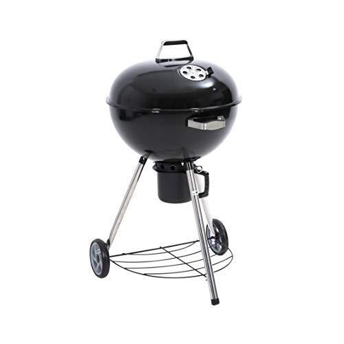 Kamino BBQ Barbecue Sferico A Carbonella Con Coperchio Raccogli Cenere E Ripiano D'Appoggio, Barbecue Rotondo Con 2 Ruote E Coperchio, Nero/Argento
