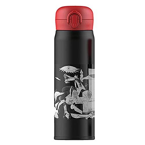 LQKYWNA Botella De Agua Aislada Al Vacío De Acero Inoxidable, 380 Ml / 500 Ml Botella De Bebida Caliente De Gran Capacidad Taza De Café De Viaje Negro Rojo Hervidor De Acero Inoxidable 304