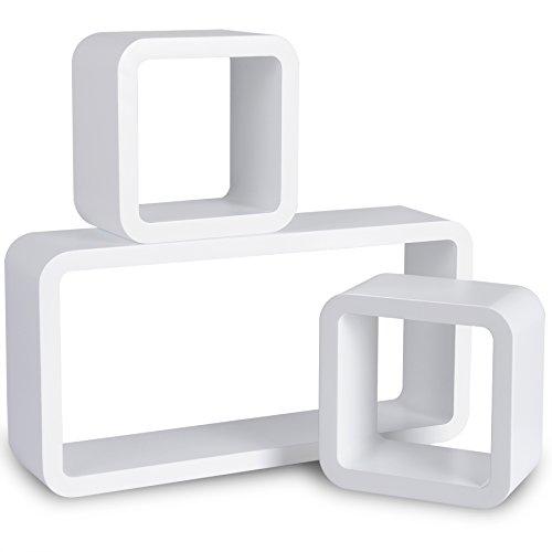 WOLTU Estantería de Pared Estantería Cubo Conjunto de 3 Estante Retro Colgantes CD Libreria Decorativo Baldas Flotante Pared Blanco 9210-a ⭐