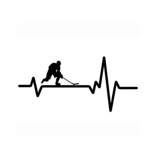 Auto Aufkleber Grafiken Interessante Herzschlag-Linie Hockey-Auto-Aufkleber-Vinyldekor-Qualitäts-Schattenbild 14.6 * 6.8CM 2 Stück