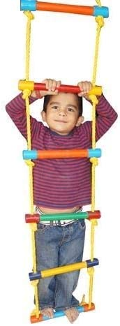 ABC KIDS WORLD Wooden Ladder for Kids for Physical Activity (7 Wooden Round Sticks with S Hook) | Indoor & Outdoor Toy
