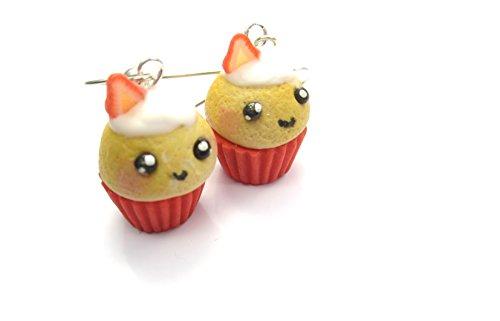 Kawaii Erdbeer Creme Törtchen Ohrringe Damen Modeschmuck Ohrhänger handmade